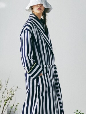 [W] Buffalo Robe Coat Lollipop Stripe Navy