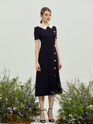 ARIA / Lace Collar Midi Dress (black)