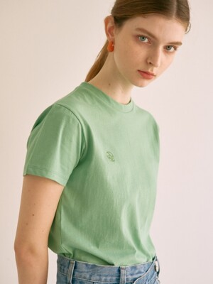 ouie11 Slim signature logo T-shirts (green)