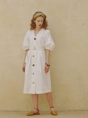 Isabelle Pleated Button Dress_White