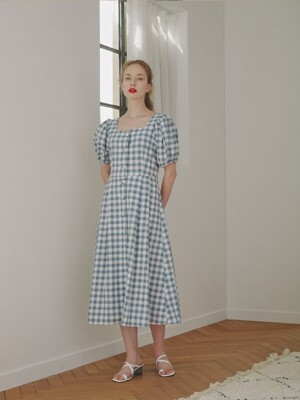 [해외판매]Alice Heart Neck Dress_Gingham Check Blue