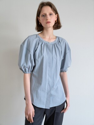 GATHERED HALF-SLEEVE VOLUME SHIRT (MINT)