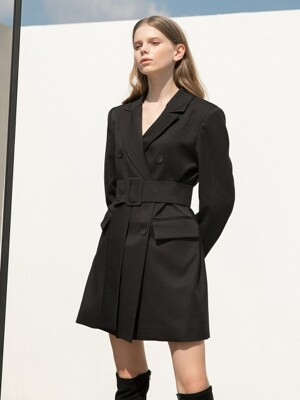 Black Jacket Belt Dress