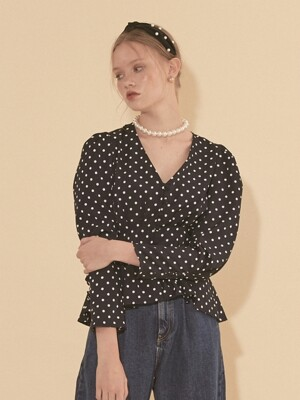 Navy Puff Shoulder Blouse_ Dot