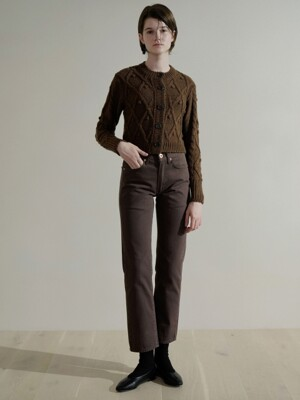 Straight fit cotton pants (Deep brown)