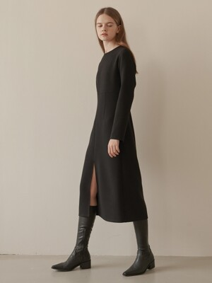 slit dress-black