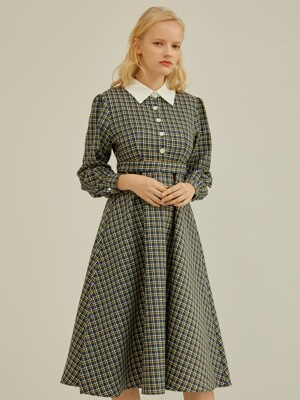 COLORATION COLLAR ONE-PIECE CHECK BLUE