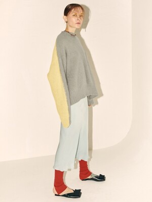 Loen Angora Knit_Gray+Yellow