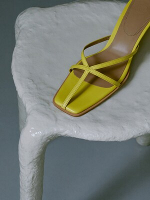 STRAPPY HEELED MULES (YELLOW)