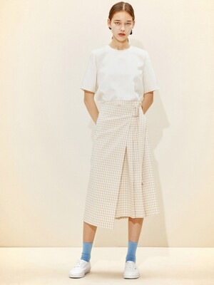 Belted Wrap Skirt [Beige Gingham Check] JSSK0B902I1