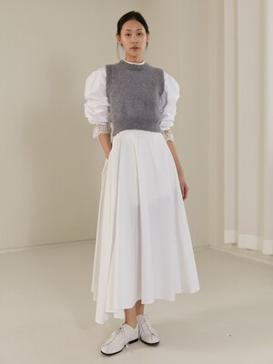 [TC20SSSK01] LAYERED FLARE WRAP SKIRT [WHITE]
