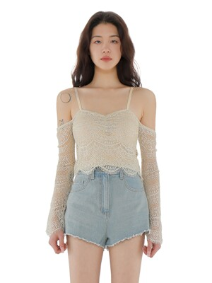C GLITTER OFF SHOULDER BLOUSE