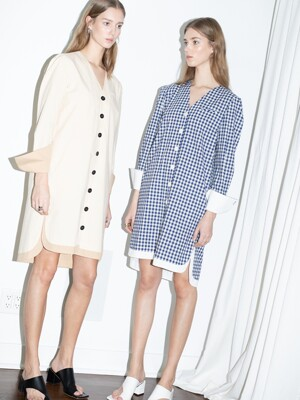 [20SS]ECHO PARK v neck button down shirt dress (Blue gingham check & White)