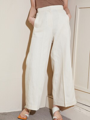 wide pocket linen pants _ natural beige