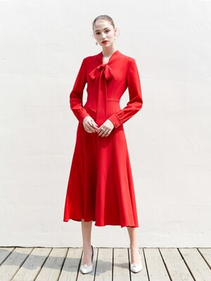 KATE Ribbon tied long sleeve dress (Red)
