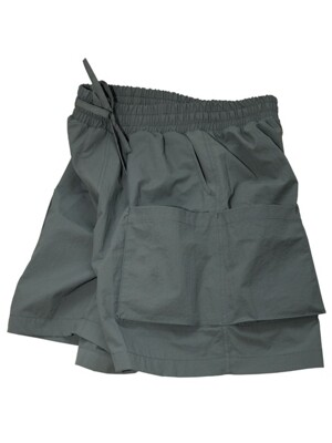 Double Pocket Banding Shorts_Charcoal