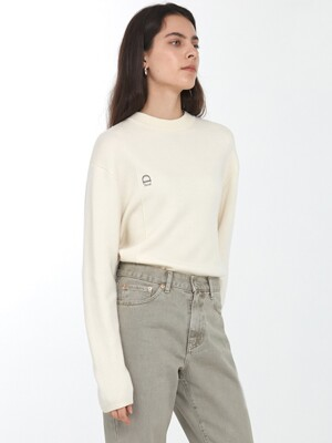 UNISEX ESSENTIAL LOGO CREASE KNIT CREAM_UDSW0F101CR