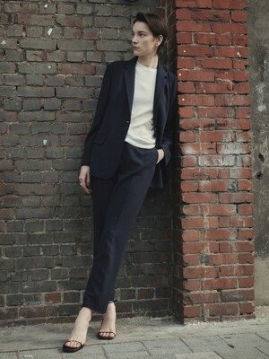 [Drama Signature] Two-button Blazer + Straight Trousers SET (NAVY)