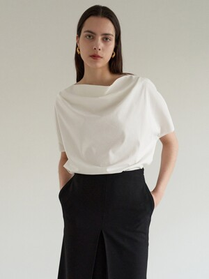 TOS DRAPED NECK TOP_3COLOR