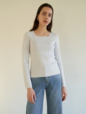 TOS SQUARE NECK KNIT TOP_2COLOR