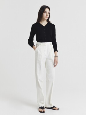 2-TUCKED BELTED COTTON SLACKS OFF WHITE_UDPA1E210WT