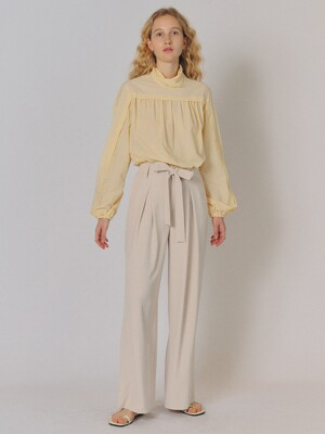 RIBBON DRAMA SLACKS [L/BEIGE]