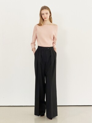 SONIA Pin tuck wide slacks (Black)