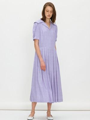 [단독] Sailor collar tuck dress - Light purple flower