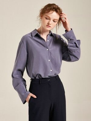 SOFT TEXTURE CUFF SHIRTS_BLUE