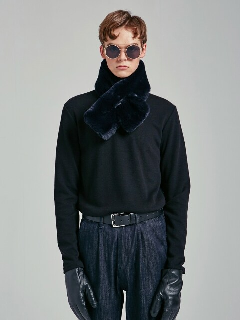 SLIM HALF TURTLENECK T_BLACK