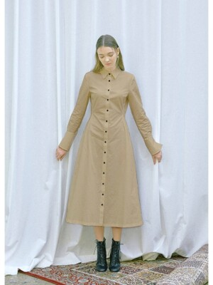 FIRENZE long sleeve shirt dress (Beige)
