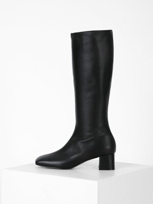SQUARE LONG BOOTS - BLACK