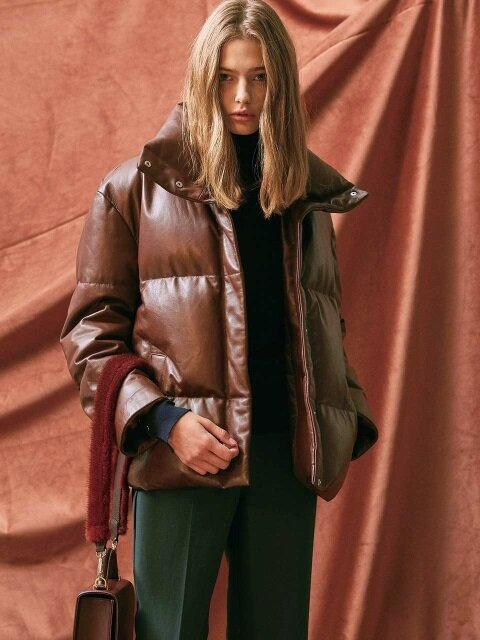 LEATHER DOWN-FILLED JACKET. BROWN