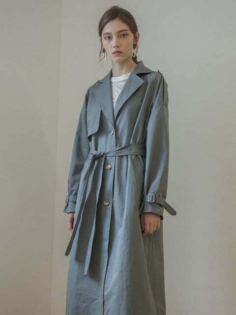 SINGLE BELTED TRENCH COAT_GREY