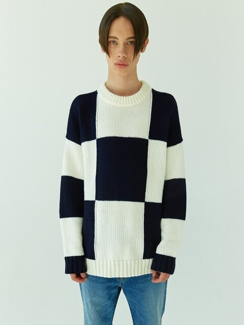18FW 21 check round knit (white check)