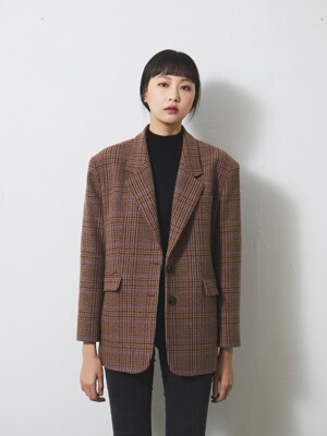 OVERFIT RETRO WOOL BLAZER / BROWN CHECK