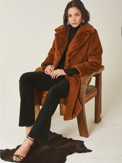 FAUX FUR COAT[BROWN]