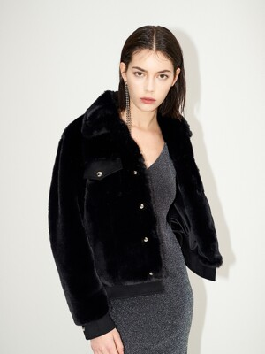 Rami Faux fur suede jacket [Black]