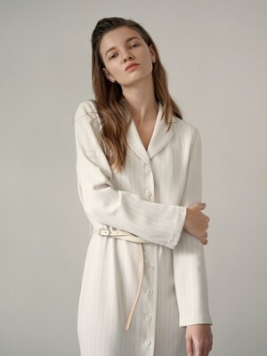 Coat Long One-Piece - Ivory Stripe