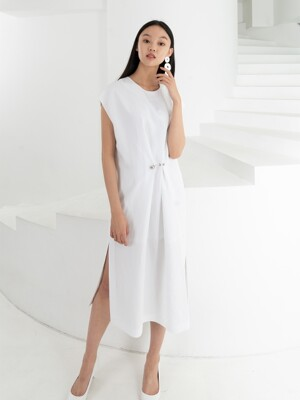 LINEN EYELET LONG DRESS . WHITE