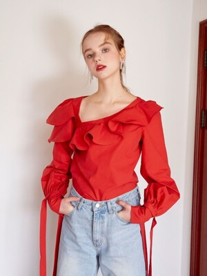 Ruffled puff blouse (Red)