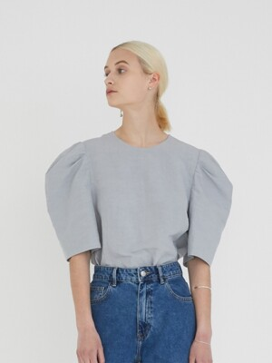 PUFF SLEEVE BACK OPEN LINEN BLOUSE (POWDER BLUE)