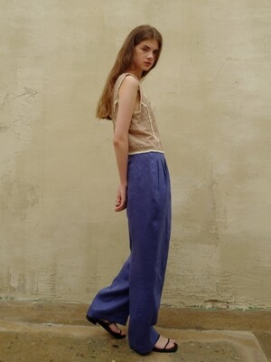 Linen wrap wide pants