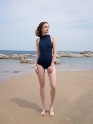 Halter neck swimsuit_navy