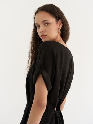 Linen shirring dress - Black