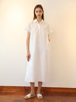 Half Sleeve Long Dress (White)