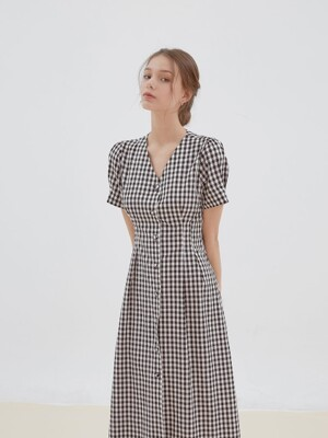 check pintuck button dress [black]