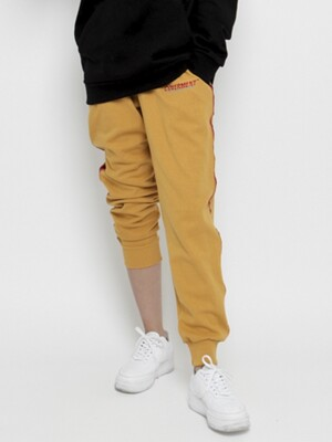 Side Tape Contrast Jogger Pants Murstard