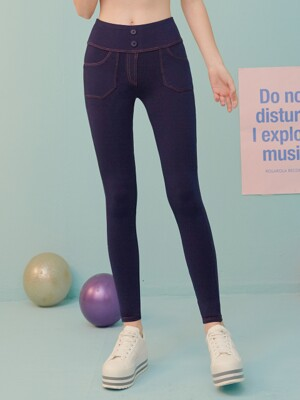 (LS-19562) PANTS LEGGINGS NAVY