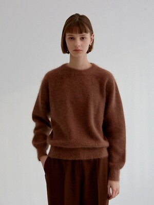 ANGORA ROUND NECK KNIT BROWN